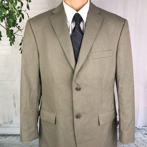 Haggar Suit Jacket Two Button Blazer Taupe 42R